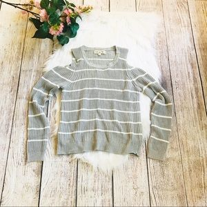 Pink Rose Gray pullover cold shoulder sweater